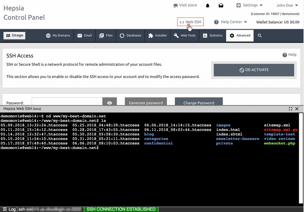 Уеб-базирана SSH функция - пример