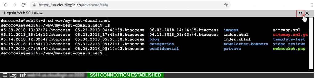 Уеб-базирана SSH функционалност  - терминал