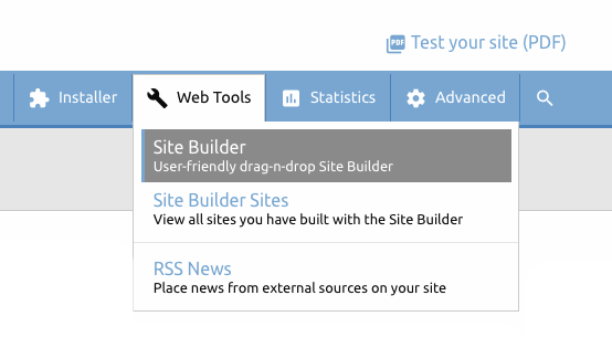 New Website Builder in Control Panel